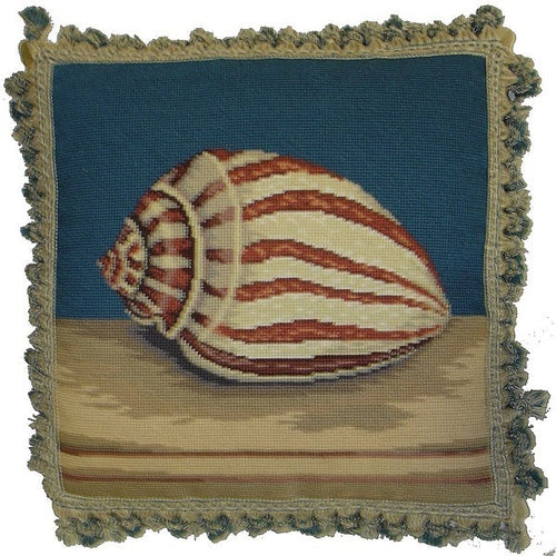 Tiger Shell - 18 by 18 in. needlepoint pillow