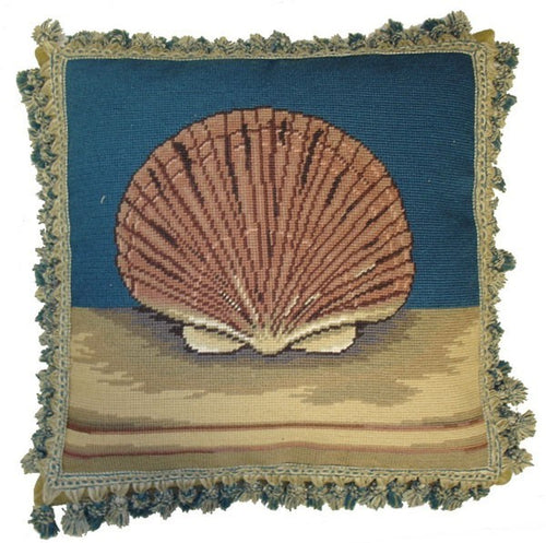 Scallop on Blue  - 18 by 18 in. needlepoint pillow