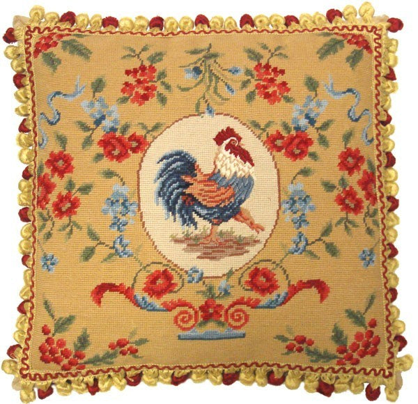 "Rooster Facing Right - 20 x 20 "" needlepoint pillow"
