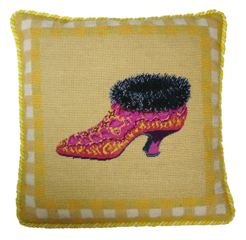 Fur Lined Shoe - Needlepoint Pillow 14x14