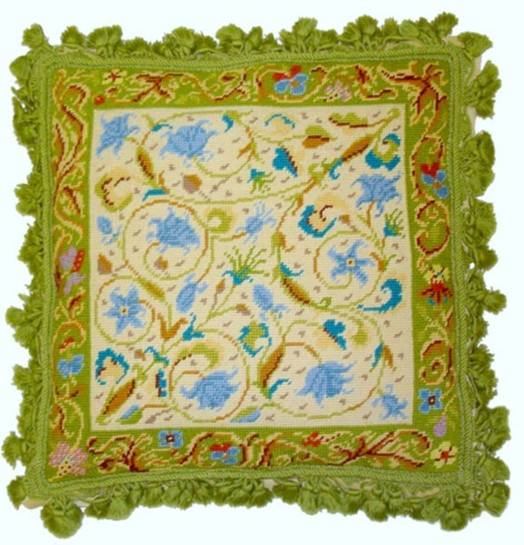 "Green Delight - 18 x 18 "" needlepoint pillow"