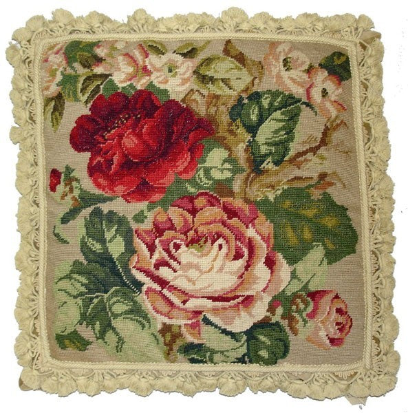 "Pink and Red Roses - 22 x 22 "" needlepoint pillow"