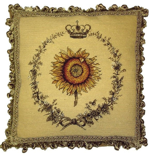 "Crown Sun Flower - 14 x 14 "" needlepoint pillow"