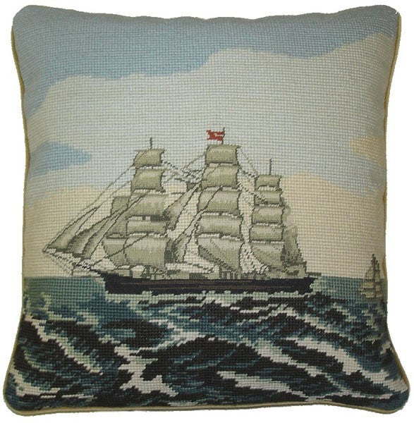 Clipper Ship  - Needlepoint Pillows - 14 by 14 ""