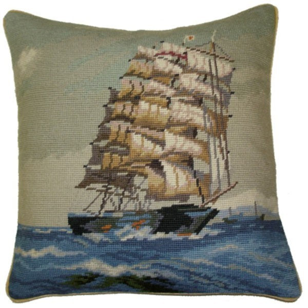 "Mighty Clipper  - 16 by 16 "" needlepoint pillow"