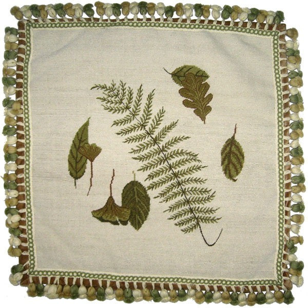 "Fern and Four Leaves - 22 x 22 "" needlepoint pillow"