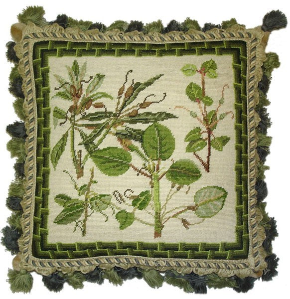 "Green Leaf Pattern - 14 x 14 "" needlepoint pillow"