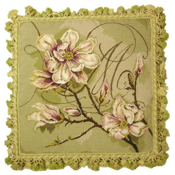 "Magnolia in Green - 18 x 18 "" needlepoint pillow"