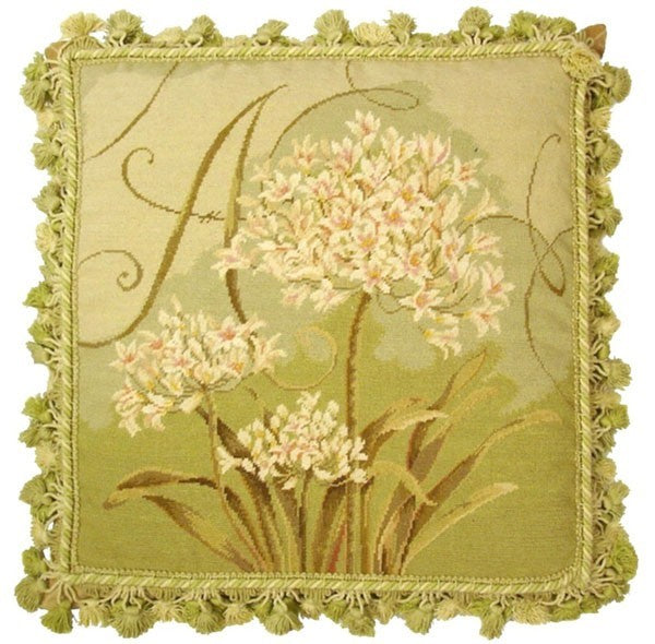 "Agapanthus in Green - 18 x 18 "" needlepoint pillow"