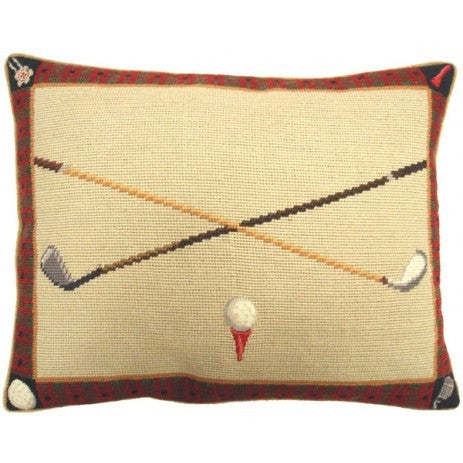 "AA- Teed  Golf Ball - 15 x 19 "" needlepoint pillow"