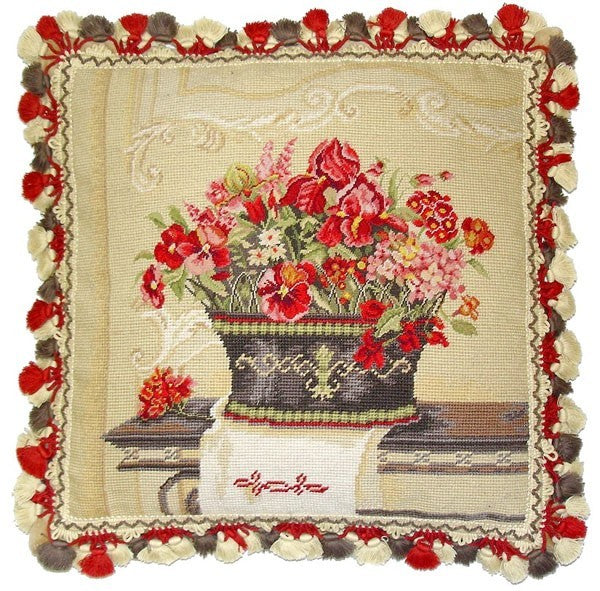 "Red Pansies in Vase - 19 x 19 "" needlepoint pillow"