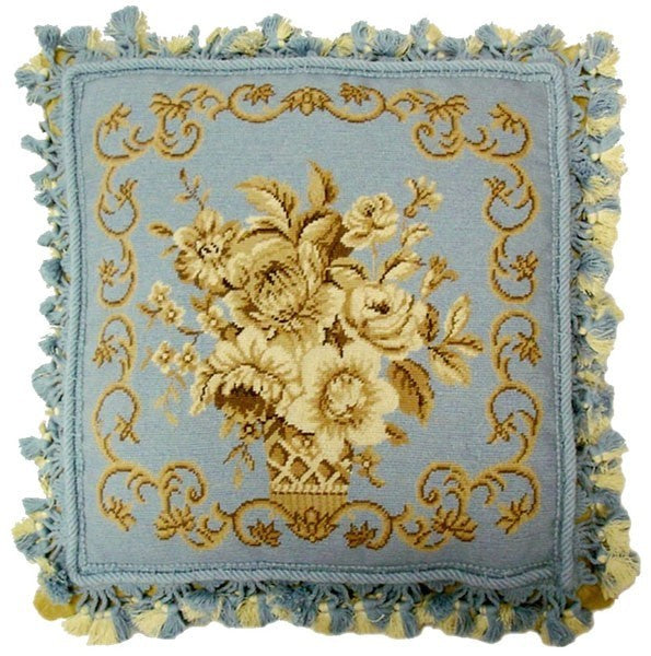 "Blue Elegance - 16 x 16 "" needlepoint pillow"