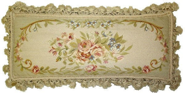 "Flowers and Buds of Elegance - 12 x 22 "" needlepoint pillow"
