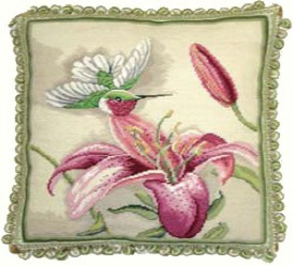 "Humming Bid and Pink - 18 x 20 "" needlepoint pillow"