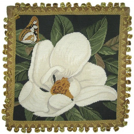 "Butterfly with Magnolia - 18 x 18 "" needlepoint pillow"