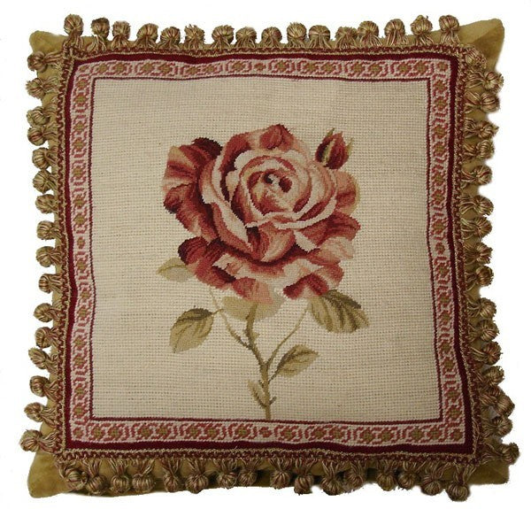 "AA- Rose Framed - 16 x 16 "" needlepoint pillow"