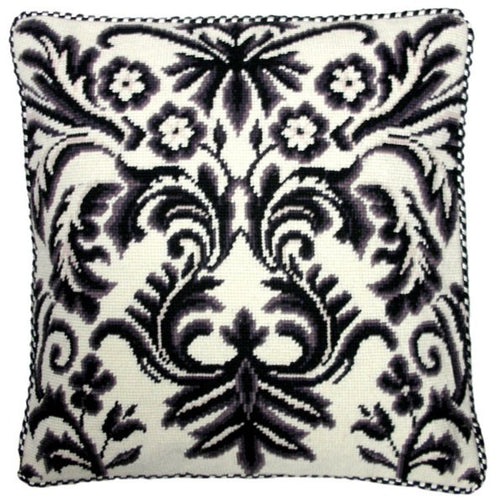 White and Black Design - 17 x 17 in. needlepoint pillow