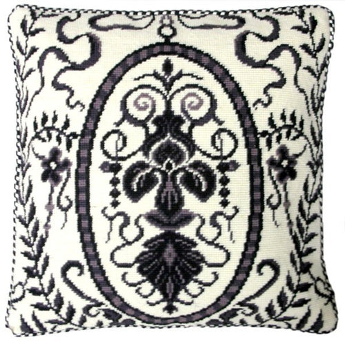 Black and White Design - 17 x 17 in. needlepoint pillow