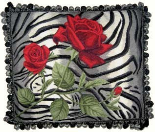 Red Rose on Tiger - 19 x 23 in. needlepoint pillow