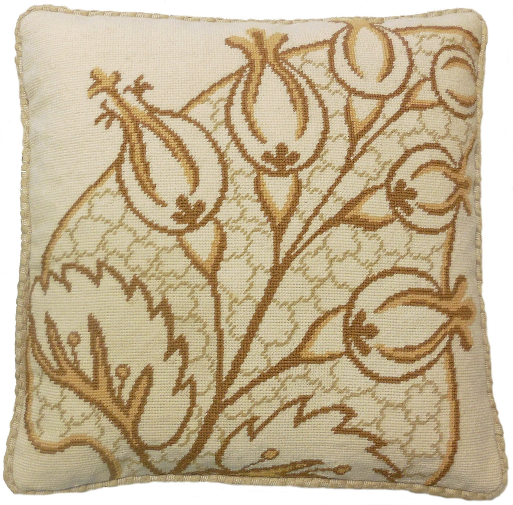 Abstract Plant Brown - Needlepoint Pillow 19x19