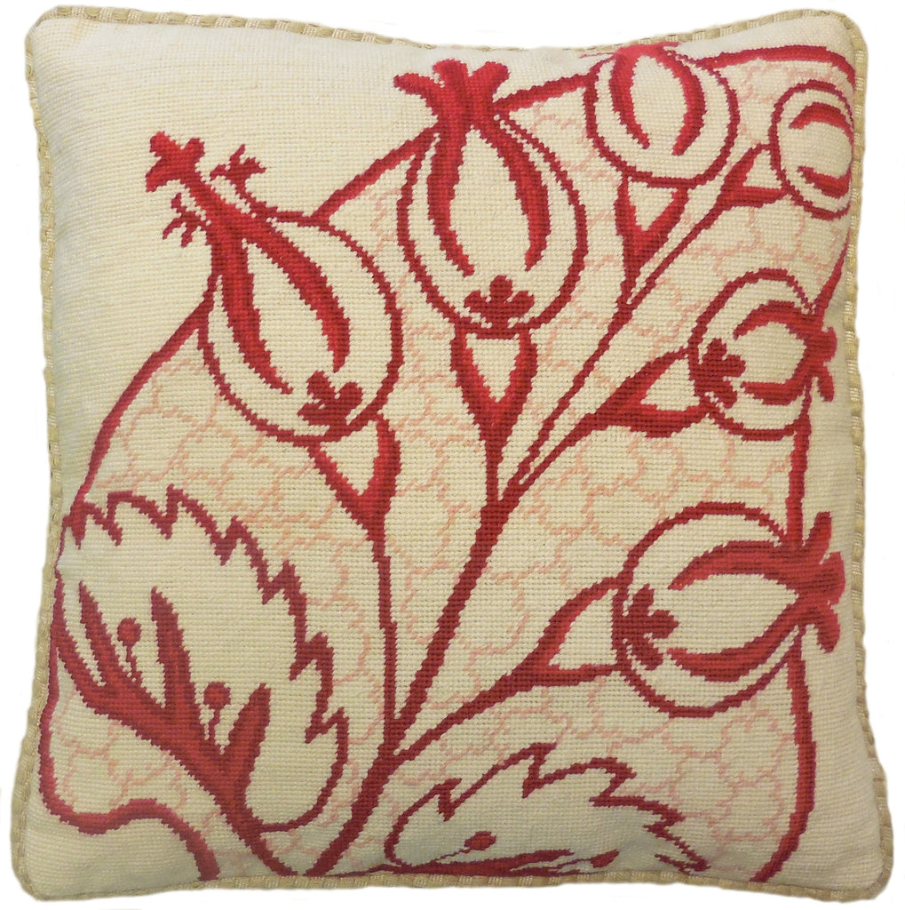Abstract Plant Red - Needlepoint Pillow 19x19