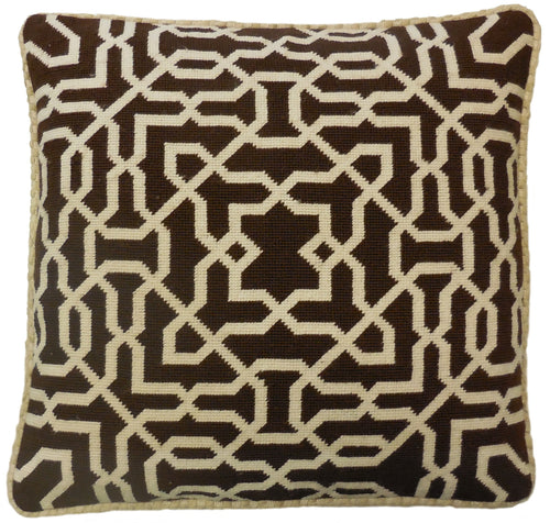 Cream on Brown Pattern - Needlepoint Pillow 19x19