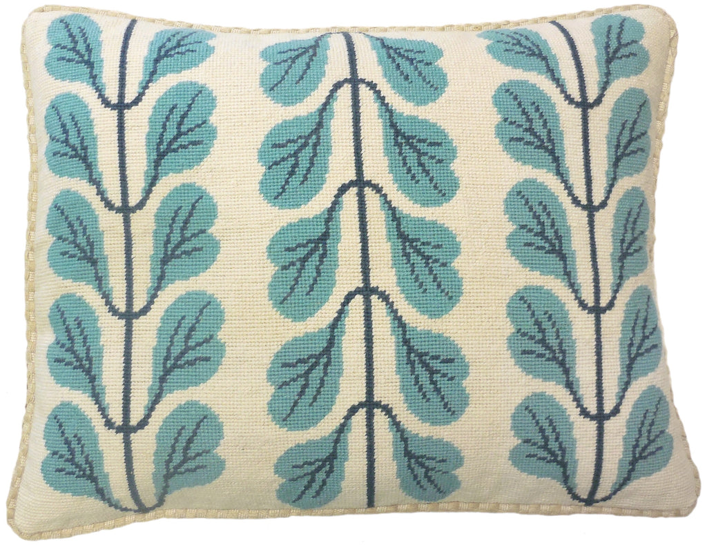 Leaved Stem II - Needlepoint Pillow 17x21