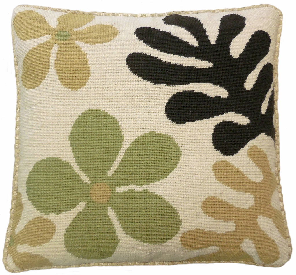 AA- Tan Pattern - Needlepoint Pillow 19x19