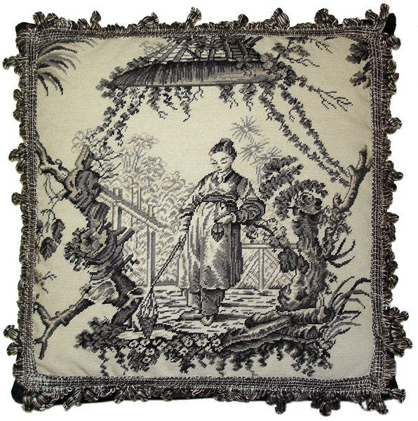 "AA- Woman Study in Black - 20 x 20 "" needlepoint pillow"