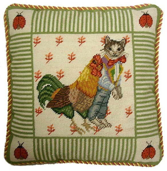 "Cat and Chicken - 16 x 16 "" needlepoint pillow"