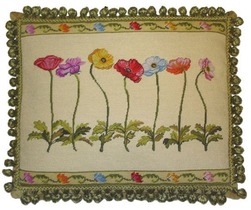 Seven Poppies - 16 x 20 in. needlepoint pillow