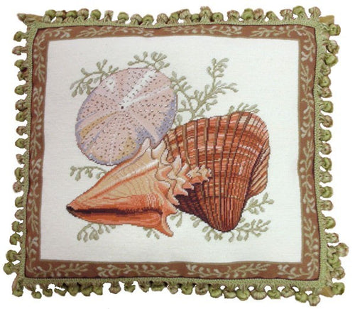 Two Shells and Urchin - 18 x 20 in. needlepoint pillow