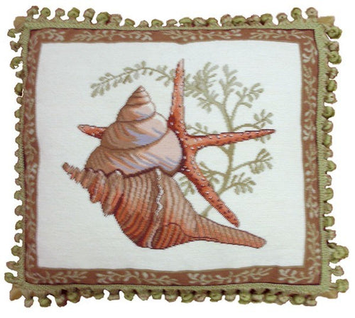 Shells on Starfish - 18 x 20 in. needlepoint pillow