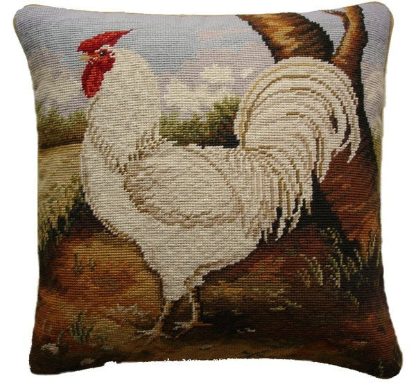 "AA- White Rooster - 17 x 17 "" needlepoint pillow"