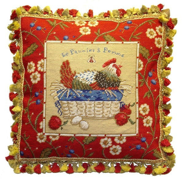 "AA- Red Framed Chicken Facing Right - 21 x 21 "" needlepoint pillow"