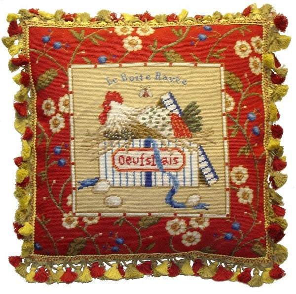 "Red Framed Chicken Facing Left and Eggs - 21 x 21 "" needlepoint pillow"