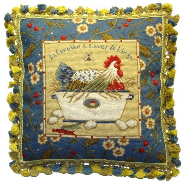 "Blue Framed Chicken Facing Right and Eggs - 21 x 21 "" needlepoint pillow"