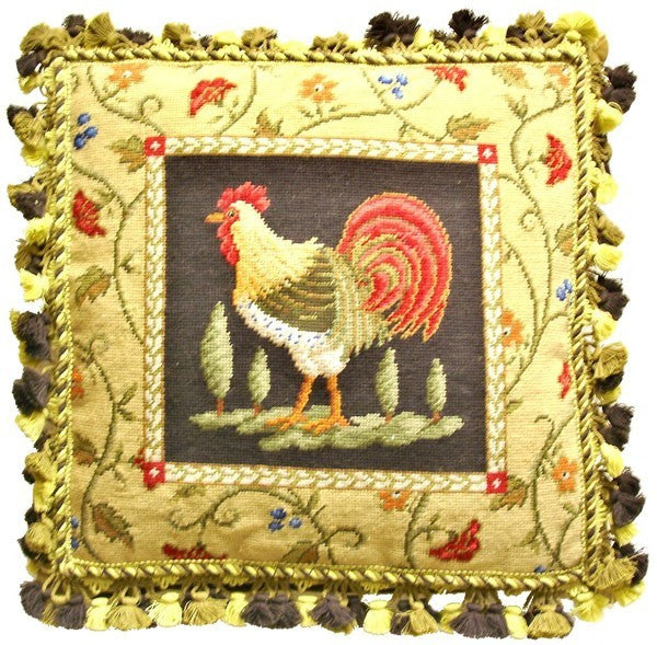 "Fancy Rooster Facing Left - 21 x 21 "" needlepoint pillow"