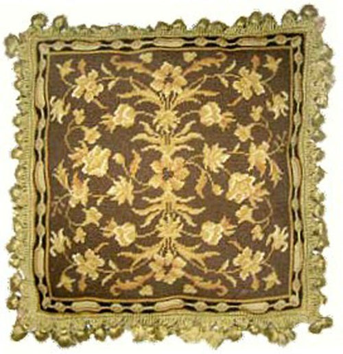 Yellows on Brown - 20 x 20 in. needlepoint pillow