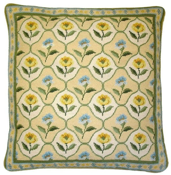 "AA- Yellow and Blue Flowers - 16 x 16 "" needlepoint pillow"