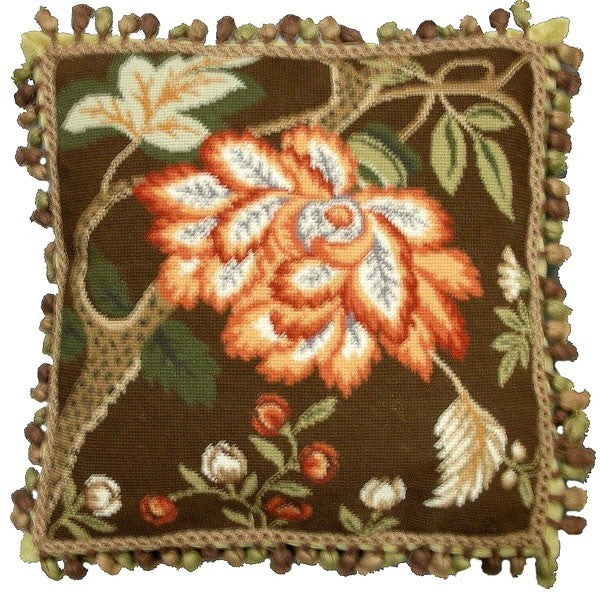 "AA- Study in Browns - 18 x 18 "" needlepoint pillow"