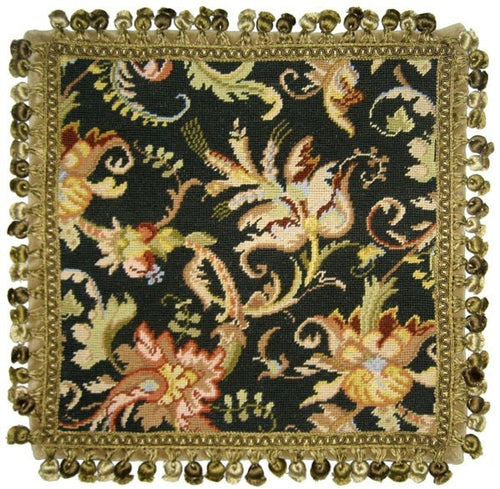 Autumn Study on Black - 18 by 18 in. - needlepoint pillow