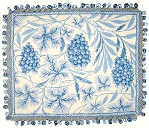 Grapes on Blue - 20 x 24 in. needlepoint pillow