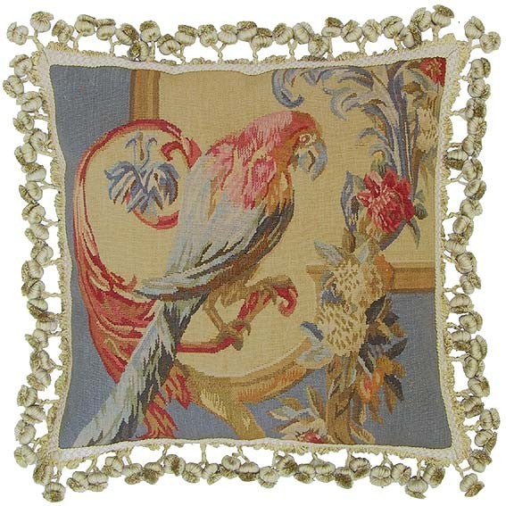 "Parrot Facing Right - 16 x 16 "" Aubusson pillow"