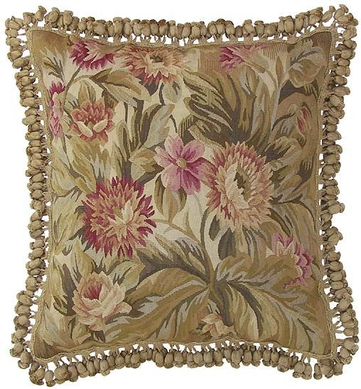 "AA- Pink Flower Accents - 22 x 22 "" Aubusson pillow"
