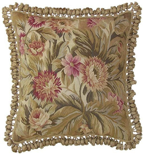 Pink Flower Accents - 22 x 22 in. Aubusson pillow