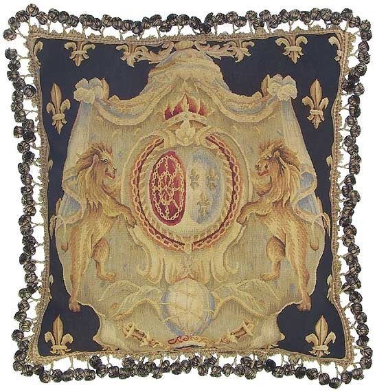 "AA- Royal Orb and Black - 22 x 22 "" Aubusson pillow"