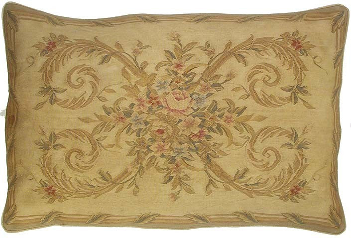 "AA- Subdued Elegance - 27 x 40 "" Aubusson pillow"