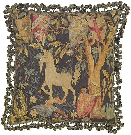 "Unicorn and Shields - 22 x 22 "" Aubusson pillow"