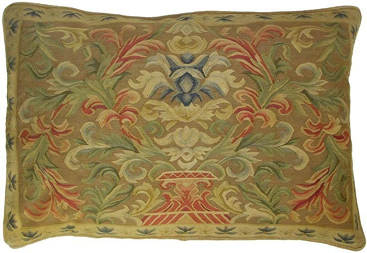 "Luxury in Green - 27 x 40 "" Aubusson pillow"